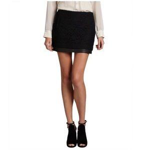 Black Diane von furstenberg Lace Leather Skirt